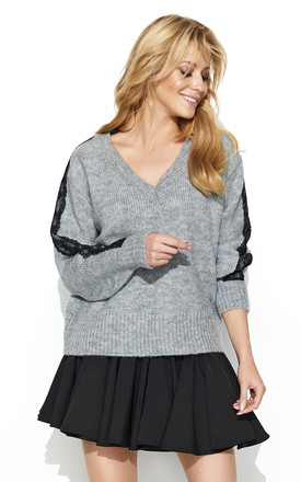 V Neck Jumper with Lace Detailed Sleeves in Light Grey by Makadamia