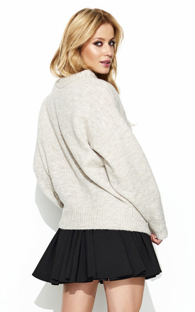 Beige Turtleneck Oversized Sweater by Makadamia
