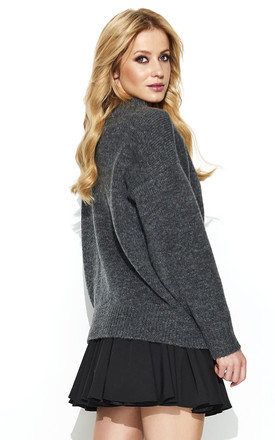 Graphite Turtleneck Oversized Sweater by Makadamia