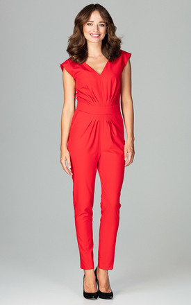 Red Jumpsuit With Pleating Detail by LENITIF