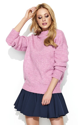 Pink Turtleneck Oversized Sweater by Makadamia