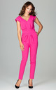 Fuchsia Jumpsuit With Pleating Detail by LENITIF