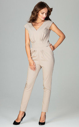 Beige Jumpsuit With Pleating Detail by LENITIF