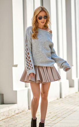 Grey Oversized Cut Out Sleeves Knitwear Jumper by Makadamia Product photo