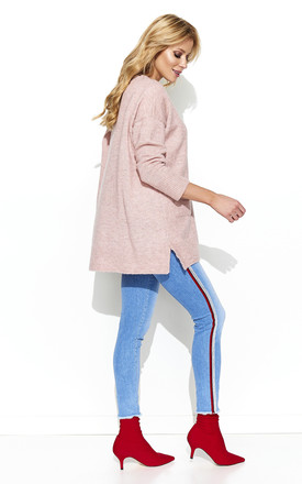 Pink V Neck Oversized Knitwear Jumper With Pockets by Makadamia
