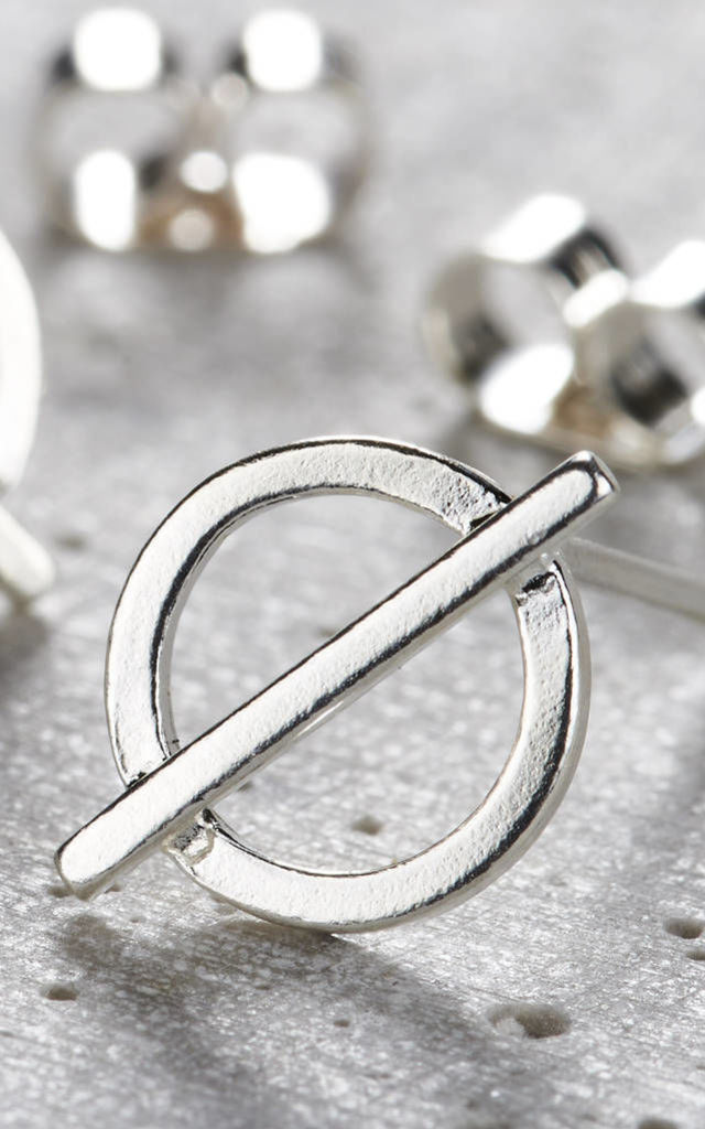 Sterling Silver Circle Bar Stud Earrings by Posh Totty Designs