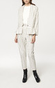Checked V Neck Blazer with Peplum Hem in White and Black by Paisie