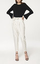Checked Peg Leg Trousers in White and Black (with self belt) by Paisie