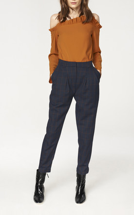 Checked Peg Leg Trousers in Navy and Brown (with self belt) by Paisie