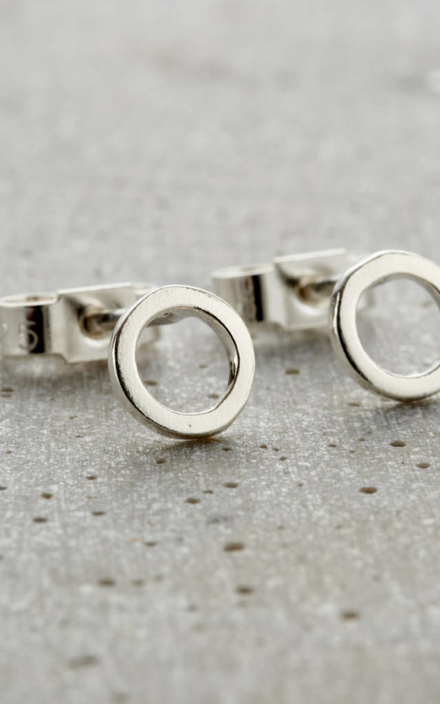 Sterling Silver Fine Circle Stud Earrings By Posh Totty Designs