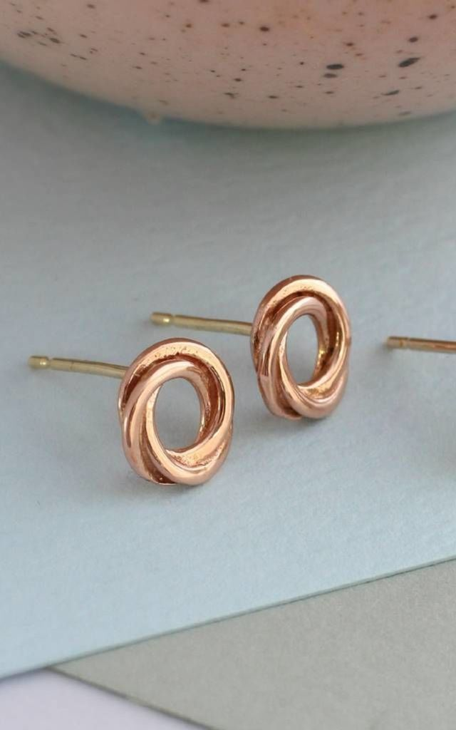 Russian Ring Stud Earrings in 9ct Rose Gold Plate by Posh Totty Designs