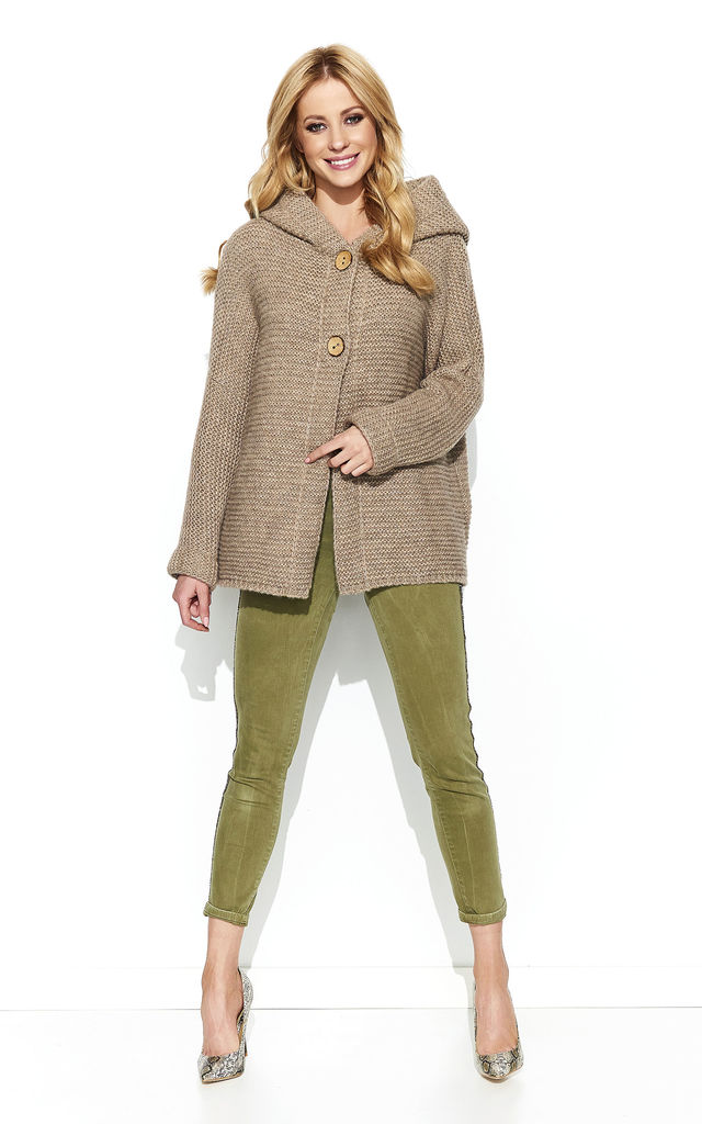 Cappuccino Hooded Cardigan With Two Buttons by Makadamia