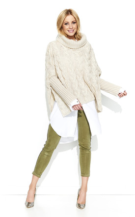 Braid Weave Oversized Jumper In Beige by Makadamia Product photo