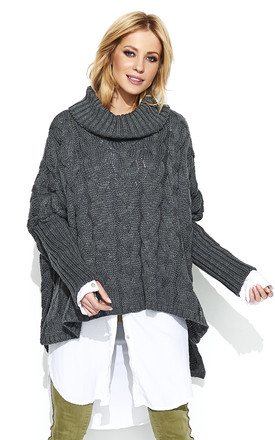 Braid Weave Oversized Jumper In Graphite Grey by Makadamia Product photo
