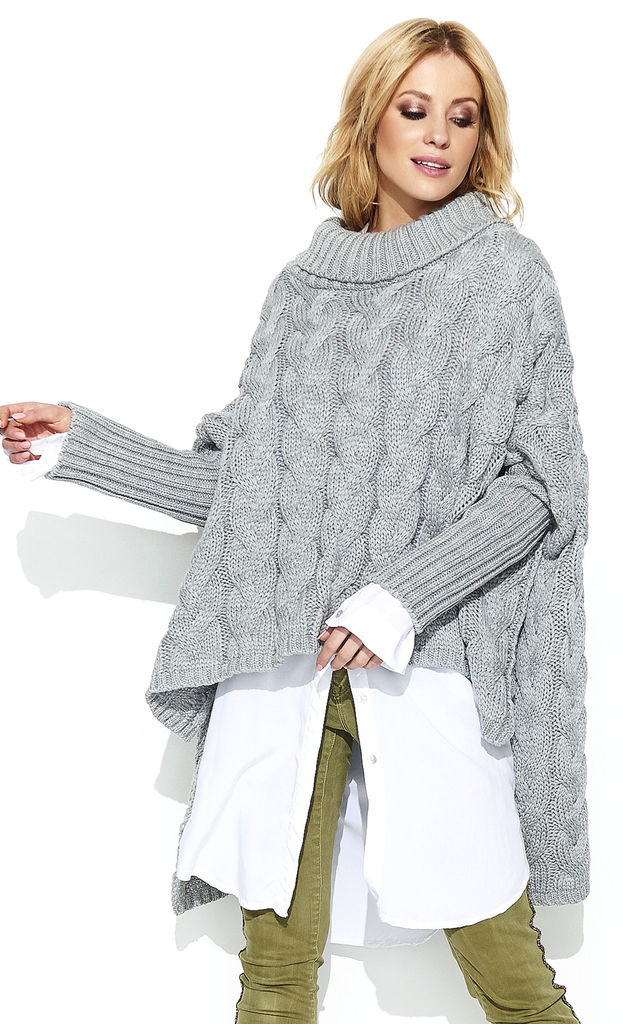 Braid Weave Oversized Jumper in Grey by Makadamia
