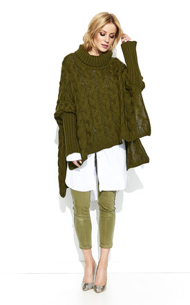 Braid Weave Oversized Jumper In Khaki Green by Makadamia Product photo