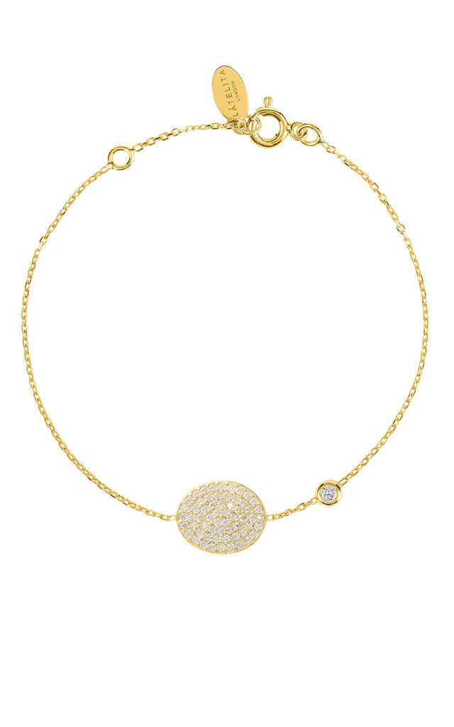 Gold Bracelet with SPARKLING OVAL DISC Charm by Latelita London