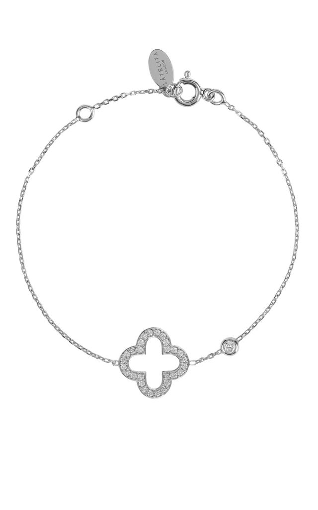 Silver bracelet with OPEN CLOVER charm by Latelita