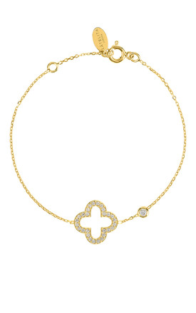 Gold bracelet with OPEN CLOVER charm by Latelita London