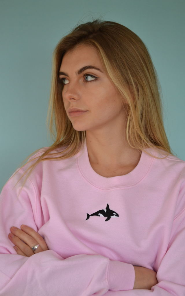 Embroidered orca killer whale pink Sweater by Emma Warren