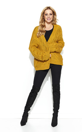 Mustard Loose Braided Open Cardigan by Makadamia Product photo