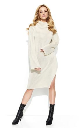 Beige Collar Long Slit Knitwear Dress by Makadamia