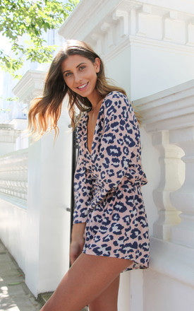 Blue Leopard Print Plunge Neck Playsuit by Styled In London Product photo