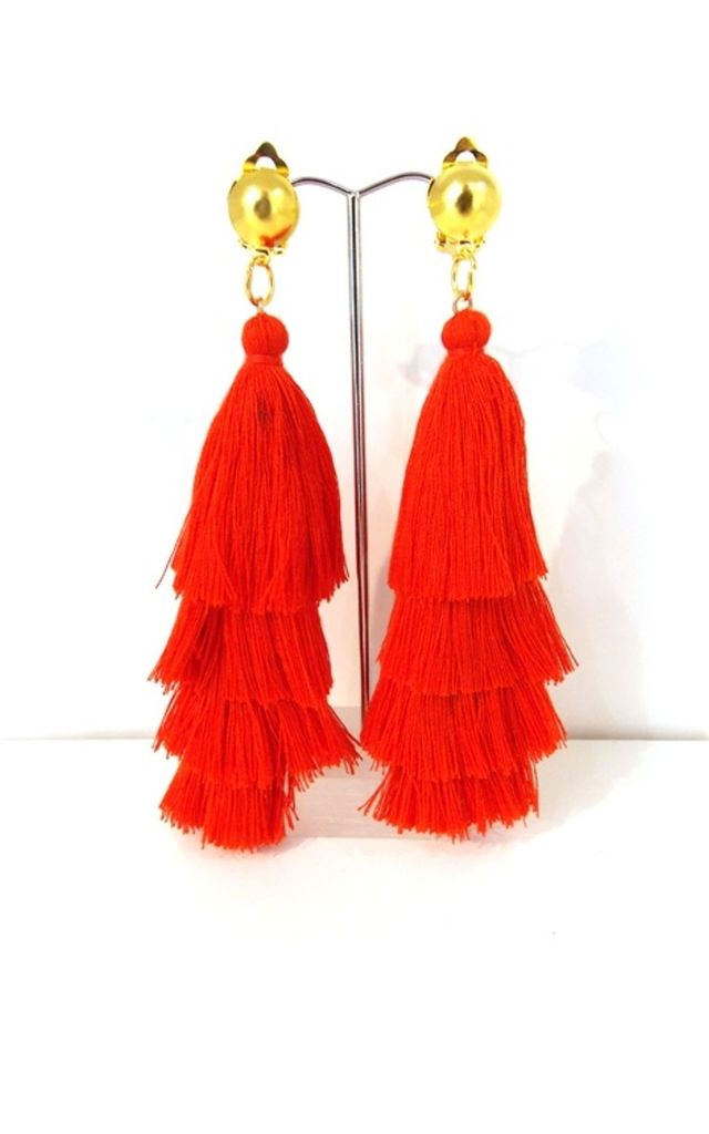 Long Red Tiered Tassel Clip-On Earrings by Olivia Divine Jewellery
