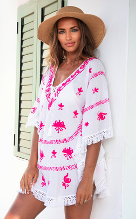 Mykonos Embroidered V Neck Mini Kaftan White / Hot Pink by Kitten Beachwear Product photo