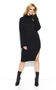 Black Collar Long Slit Knitwear Dress by Makadamia