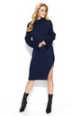 Navy Blue Collar Long Slit Knitwear Dress by Makadamia