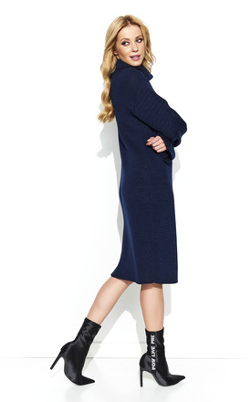 Long Sleeve Knit Dress with Turtleneck in Navy Blue by Makadamia