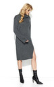 Graphite Collar Long Slit Knitwear Dress by Makadamia