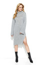 Grey Collar Long Slit Knitwear Dress by Makadamia