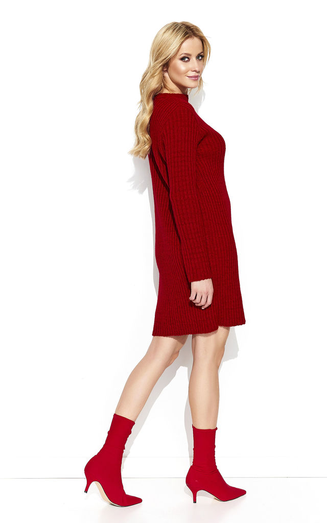 Red Longline Jumper with Choker by Makadamia