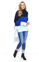Blue Three Colors Long Back Jumper by Makadamia