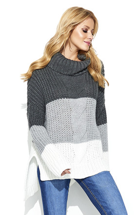 Chunky knit roll neck jumper in multi grey stripe by Makadamia