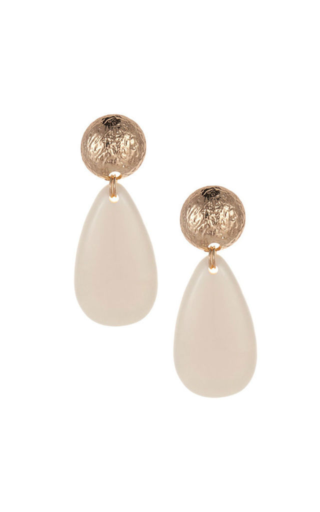 Dani Teardrop Gold and Cream Dangle Earrings by Smashglam