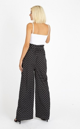 Black Polka Dot Paper Bag Wide Leg Trousers by The Fashion Bible