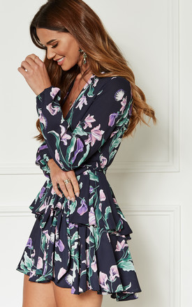 Navy With Purple Floral Print Deep Plunge Layered Mini Dress by John Zack