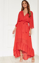 Red Plunge Maxi Dress by Bella and Blue