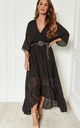 Black Plunge Maxi Dress by Lilah Rose