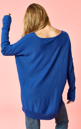 Blue Wide Neck Jumper by Glamorous