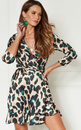 407e649ae5 Green Leopard Print Wrap Frill Mini Dress