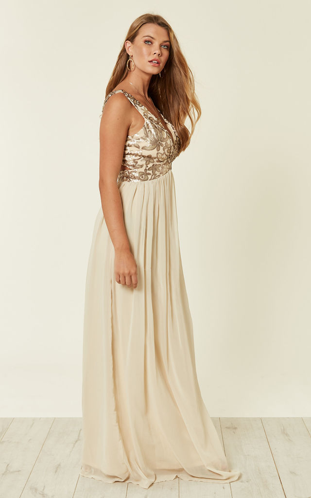 26e57b78bcd57 Plunge Neck Sequin Embellished Maxi Dress In Cream | D.Anna | SilkFred