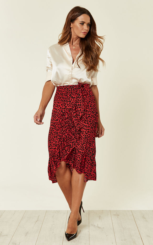 Red Leopard Print Frill Wrap Skirt by MISSI LONDON