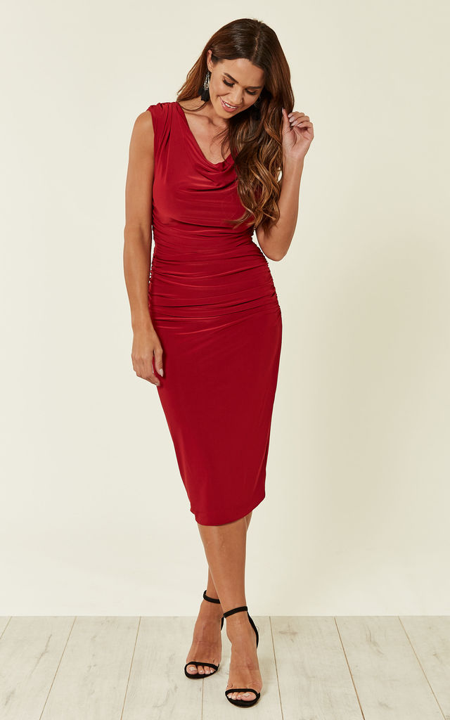 Red ruched midi evening wedding occasion dress by Zoe Vine