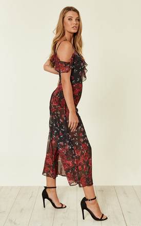 Black Floral Ruffle Culotte Jumpsuit by Another Look