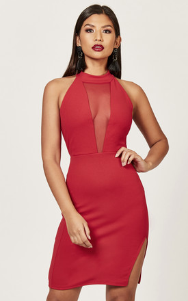 Red Halterneck Mesh Insert Dress by Phoenix & Feather Product photo