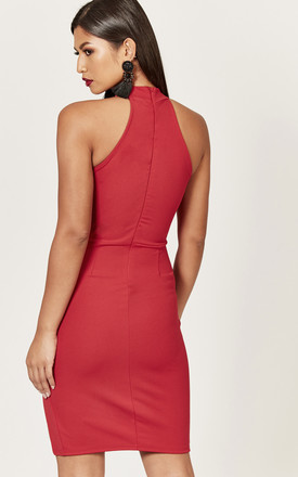 Red Halterneck Mesh Insert Dress by Phoenix & Feather